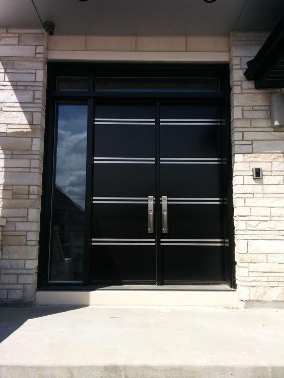 Portes d 39 entr e en acier portes bourassa porte pinterest for Decoration entree exterieur