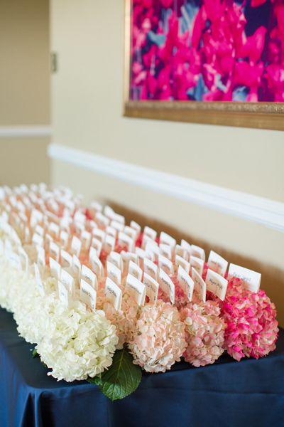 ombre hydrangeas to hold the escort cards! | Katelyn James #wedding