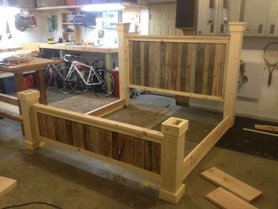 King size pallet bed bed frame updated the project king for Pallet king bed frame