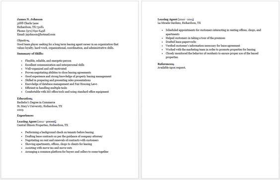 leasing agent resume sample