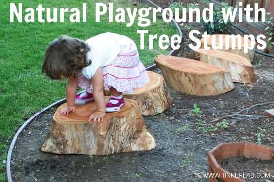 Natural playground with tree stumps pinterest natural play jungle gym and play spaces - Natural playgrounds for children ...