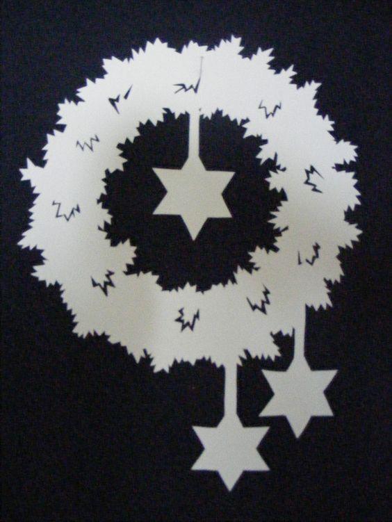 Fensterschmuck - Fensterbild Tonkarton Weihnachten Stern Kranz - ein Designerstück von sewinglady bei DaWanda
