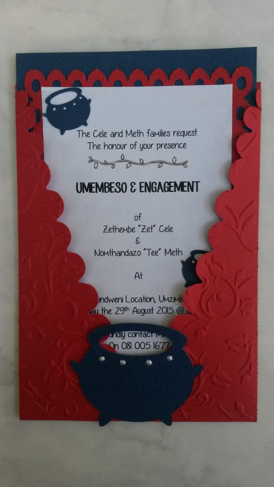 Traditional zulu invitation copyright creative flair for Wedding invitations wording south africa