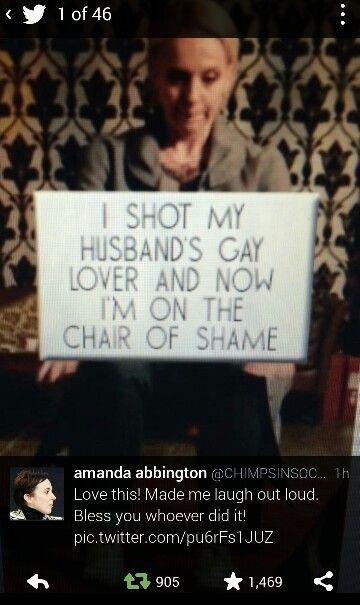 SHERLOCK (BBC) ~ Season 3, Episode 3: His Last Vow. Hilarious tweet with photo about John Watson's wife Mary shooting Sherlock, and the tweet response from Amanda Abbington, who plays Mary.