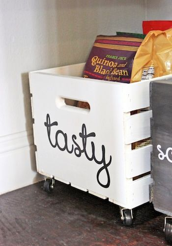Make rolling crates {Walmart wood crates plus casters on bottom} for bottom of pantry to put large bags of goods such as flour, rice, potatoes, onions so they are not on the floor.: