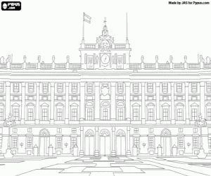 desenho de Palácio Real de Madrid, Espanha para colorir