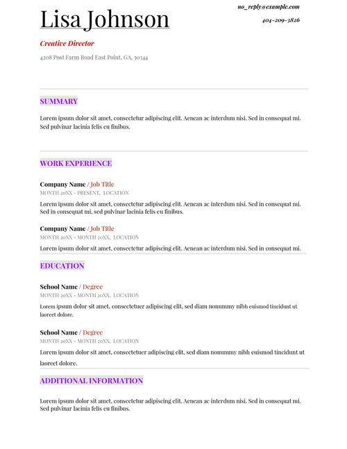 Free Resume, Job Seekers And Resume Templates On Pinterest