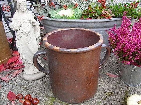 Vintage Blumentöpfe - Schmalztopf Vase Übertopf Bunzlau Topf shabby chic - ein Designerstück von artdecoundso bei DaWanda