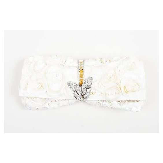 Pre-Owned Judith Leiber $2195 Cream Grosgrain Satin Rosette Rhinestone... (49275 RSD) ❤ liked on Polyvore featuring bags, handbags, clutches, white, white satin purse, evening purse, satin clutches, pre owned handbags and white handbags