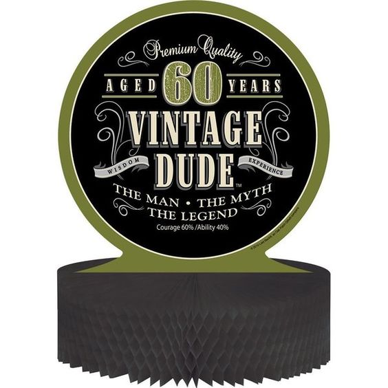 Check out Vintage Dude 60th Honeycomb Centerpiece - Discount Party Supplies from Wholesale Party Supplies