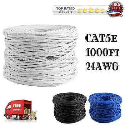 Cat5e 1000ft cable UTP Solid Black LAN Netwrok Ethernet RJ45 Bulk CAT5 24 AWG