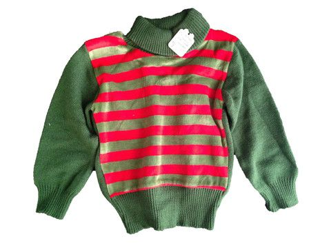 Vintage Green & Red Knitted Baby Jersey – Junkie Charity Store