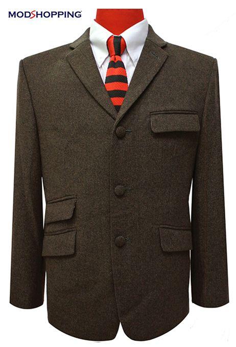 Tweed dark brown herringbone jacket