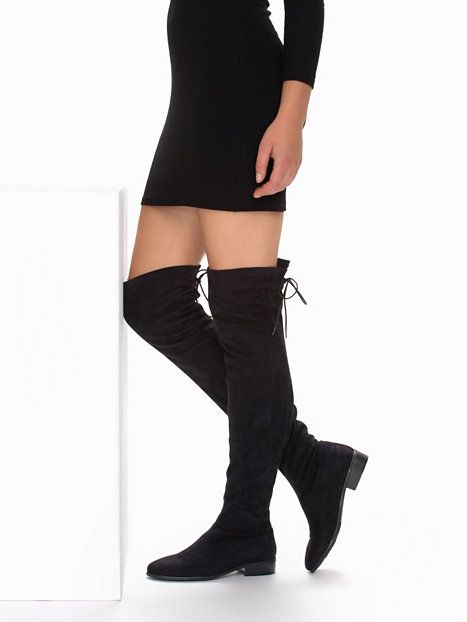 Black Thigh High Boots Flat - Cr Boot