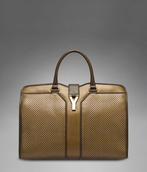 LARGE YSL CABAS CHYC IN BRONZE PERFORATED LEATHER