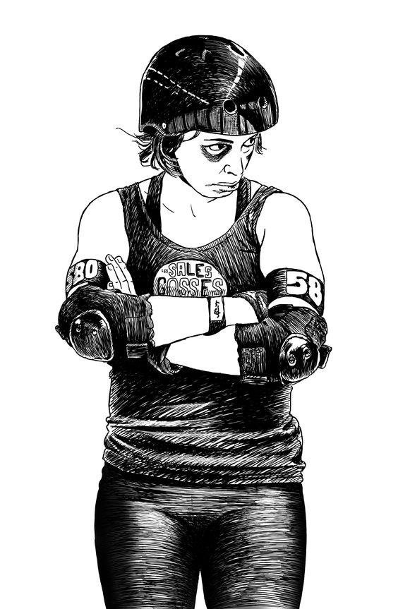 Roller derby girl in penalty box.