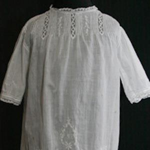 White Batiste Edwardian Baby Dress - Made in France - Size approx 6 Months