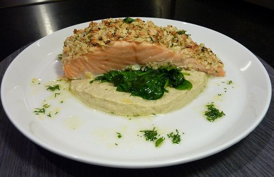 Almond Crusted Salmon With Artichoke Puree & Lemon Wilted Spinach - Gluten Free, Sugar Free