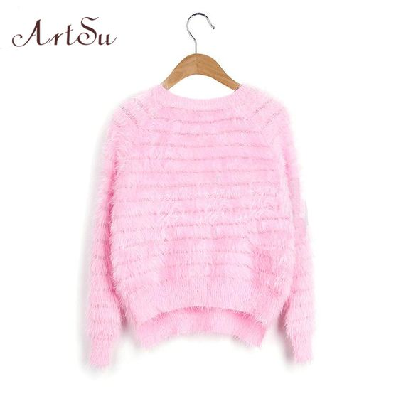 ArtSu New 2017 Knitted Crew Neck Warm Winter Women Mohair Sweater Pullover Solid Women Sweaters Short 8 Colors EPSW80016