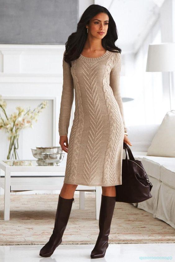 Женское платье спицами описание