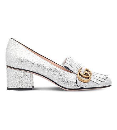 GUCCI - Marmont 55 metallic-leather loafers | Selfridges.com