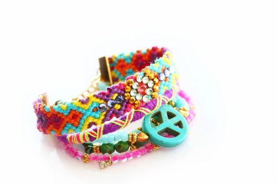 Friendship Bracelet Set,Swarovski jewelry,Peace Charm,Bohemian,Indian,Boho Chic,Gypsy,Hippie,Multiple Strands,Beaded,Christmas,gift for her, by Bosphorushandmade on Etsy https://www.etsy.com/listing/127917099/friendship-bracelet-setswarovski