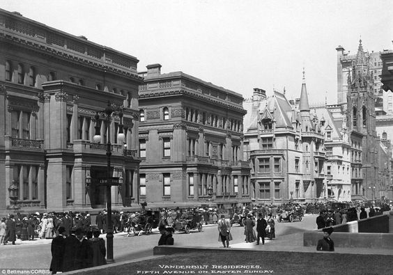 Blast from the past: 1900-New York, New York- Picture shows Fifth Avenue & 51st street, on Easter Sunday, and the row of Vanderbilt Mansions...