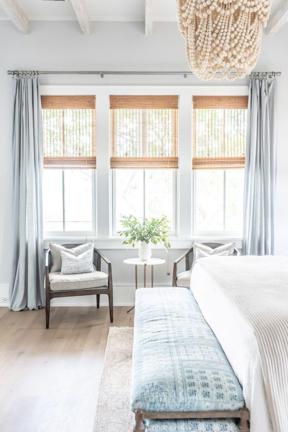 Wednesday Watch List / Gorgeous master bedroom with bright and airy windows, a beaded chandelier, and master bedroom furniture. #masterbedroom #masterbedroomideas #masterbathroomremodel