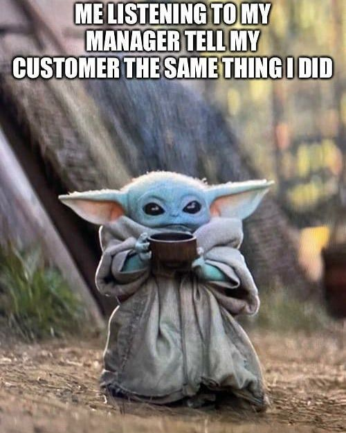Baby Yoda On Instagram There You Have It Karen For More Follow Baby Yodamemes Babyyoda Yoda Starwars Memes Cute Yoda Funny Yoda Meme Funny Memes