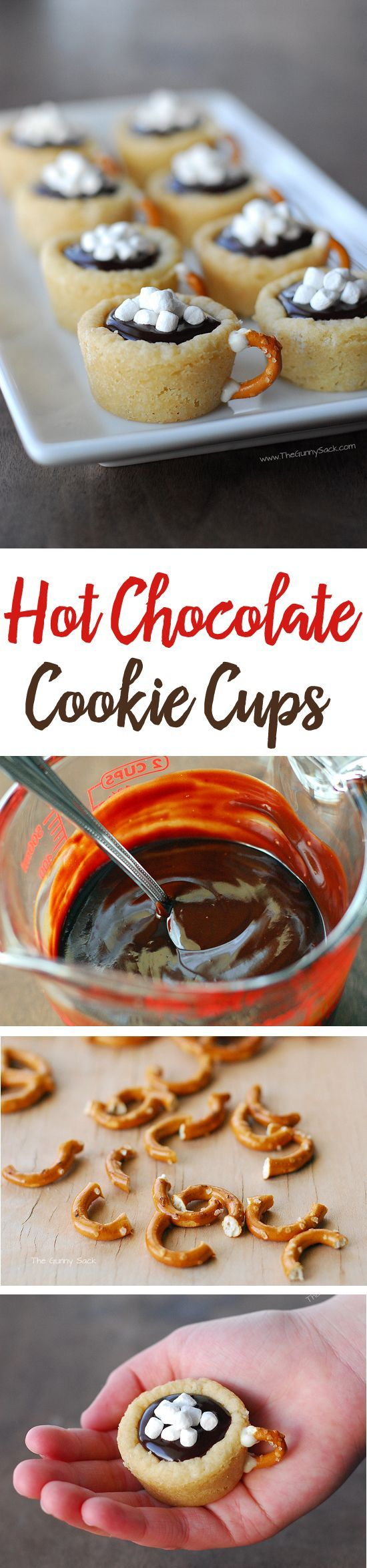 This easy cookie recipe for Hot Chocolate Cookie Cups is made with sugar cookies. They're filled with chocolate ganache and have a pretzel handle!: