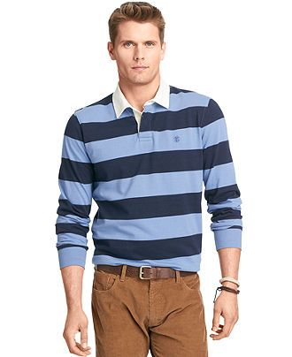 Izod Shirt Long Sleeve 50 50 Striped Rugby Polo Polos