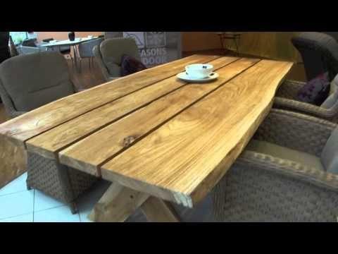 4seasons Teakholz Gartentisch Palazzo Mit Rustikaler Natur Optik Holzplatte Youtube Gartentisch Selber Bauen Gartentisch Holz Massiv Gartentisch