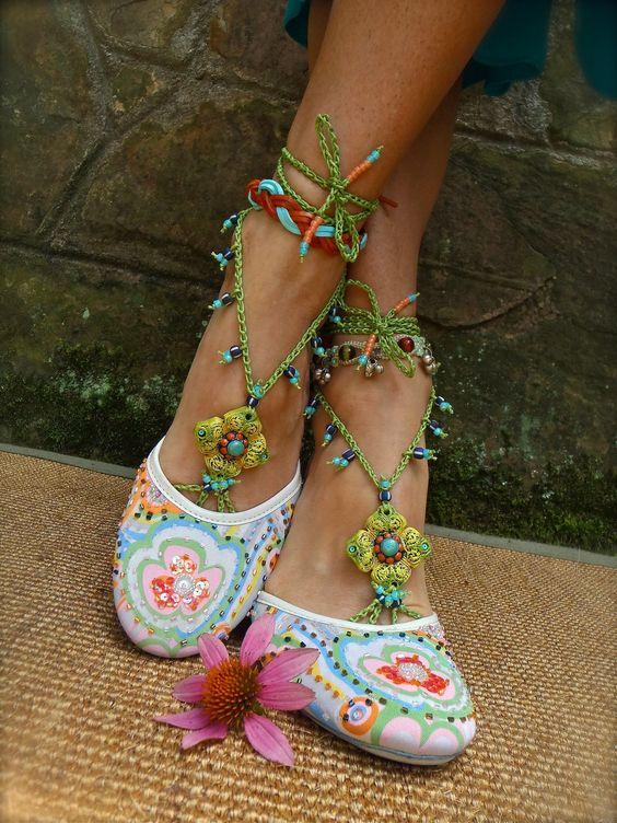PISTACHIO BAREFOOT sandals green turquoise SANDALS crochet beaded bridal shoes beach wedding bohemian gypsy shoes photo shoot props. $64.00, via Etsy.
