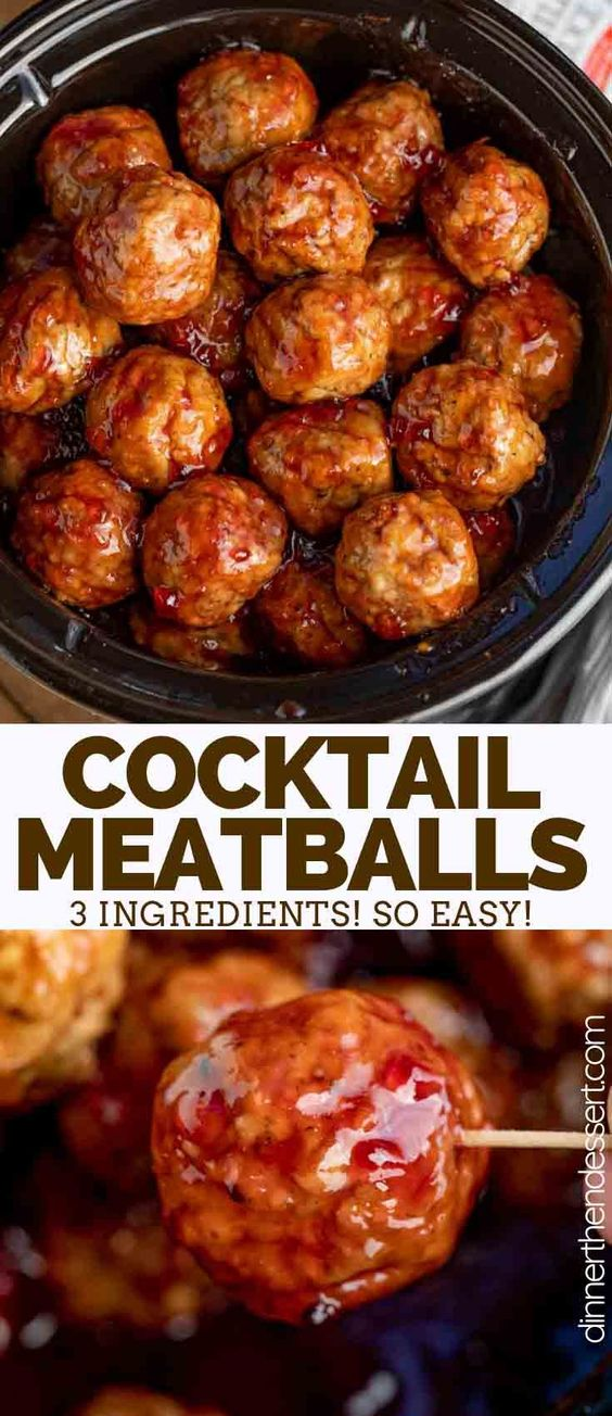 Cocktail Meatballs are the PERFECT appetizer made with frozen meatballs, grape jelly, and chili sauce, easy to throw together and only 3 ingredients! #appetizer #cocktailmeatballs #grapejellymeatballs #slowcooker #crockpot #chilisauce #homemade #recipe #easy #fast #dinnerthendessert #holidays