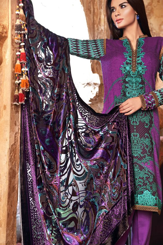 Silk Velvet VL-25  Shop Now: https://www.gulahmedshop.com/products/purple-silk-velvet-vl-25