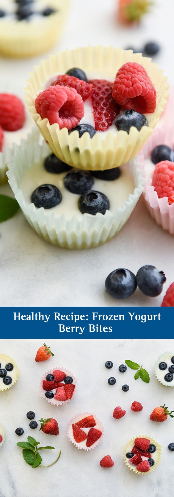 Healthy Recipe: Frozen Yogurt Berry Bites. These frozen yogurt berry bites are easy to make, cute as can be, and low in fat and calories. Make this delicious frozen yogurt recipe for your go-to healthy summer treat.