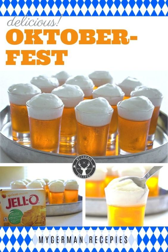 Oktoberdest Food for your Oktoberdest Party: Dessert like a cool, fresh beer - O'zapft is!  The foam is a delicious German Lemon Cream and easy to make.   #Oktoberfest  #OktoberfestFood  #OktoberfestDesert  #OktoberfestRecipe  #OktoberfestParty