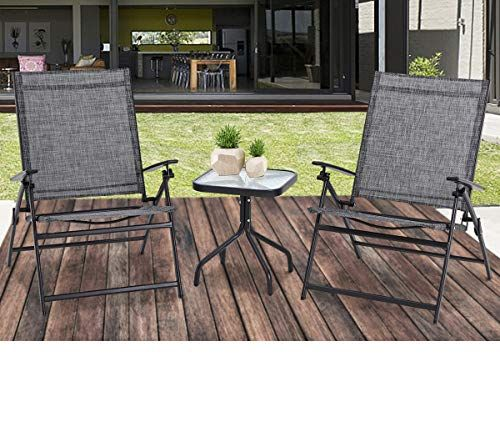 Suncrown Outdoor 3 Piece Patio Folding Chair Set Adjustable