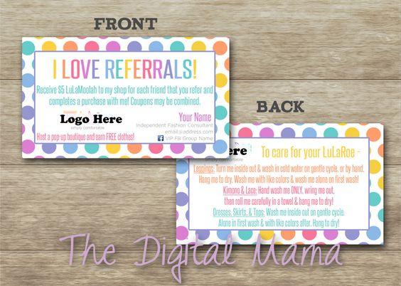 LuLaRoe Customer Referral Business Card LuLaRoe by TheDigitalMama ...