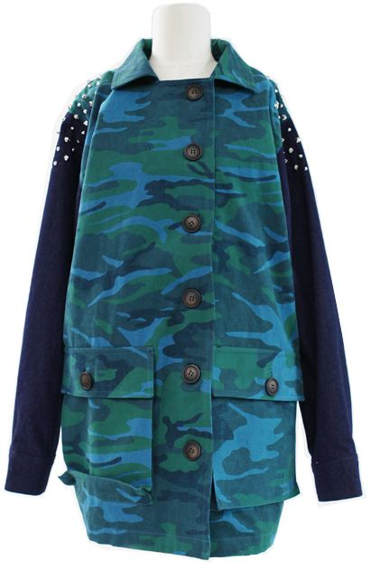 Camouflage Jumper (2 Colors)    Fall & Winter   Dolly & Molly   www.dollymolly.com   #runway, #makeup #cute #army #blue #green #boylish #chic #vintage #outer #trendy #working #camping #climbing #cycling #dance