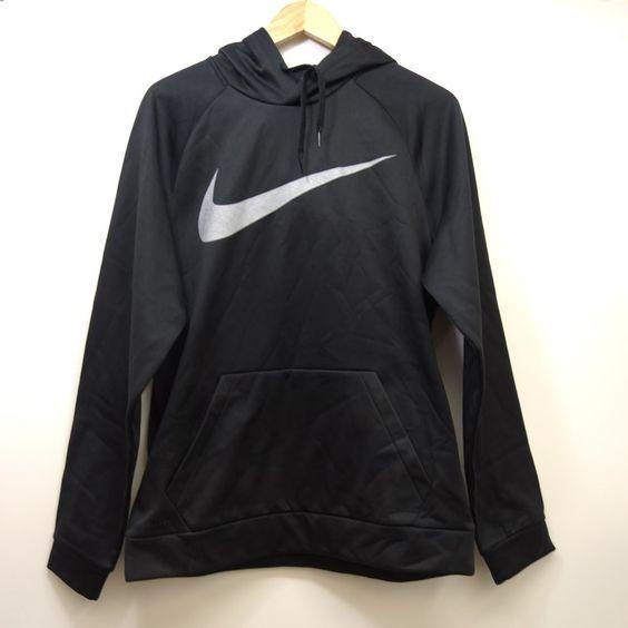 New Nike Mens Black Therma Fit Logo Swoosh Camo Pullover Hoodie Size Medium Nike Hoodie Pullover Sweatshirts Nike Outfits Nike Men