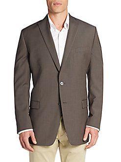CALVIN KLEIN Slim-Fit Micro Gingham Wool Sportcoat. #calvinklein #cloth #sportcoat