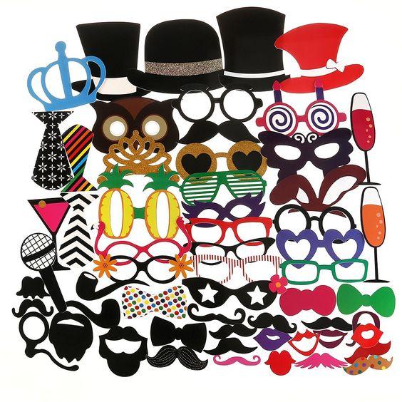"""Tinksky 60pcs foto divertenti adulti Booth puntelli occhiali cappello barba cravatta corona per bomboniera compleanno festa di Natale (Download app """"IReviewHome"""" to get code)"""
