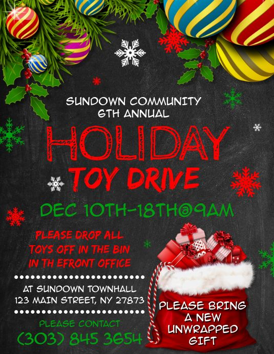 Holiday Toy Drive Flyer in 2020 | Holiday, Christmas toy drive