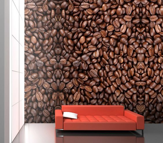 Coffee beans mural wallpaper m8956 4 panels modern for Coffee shop mural