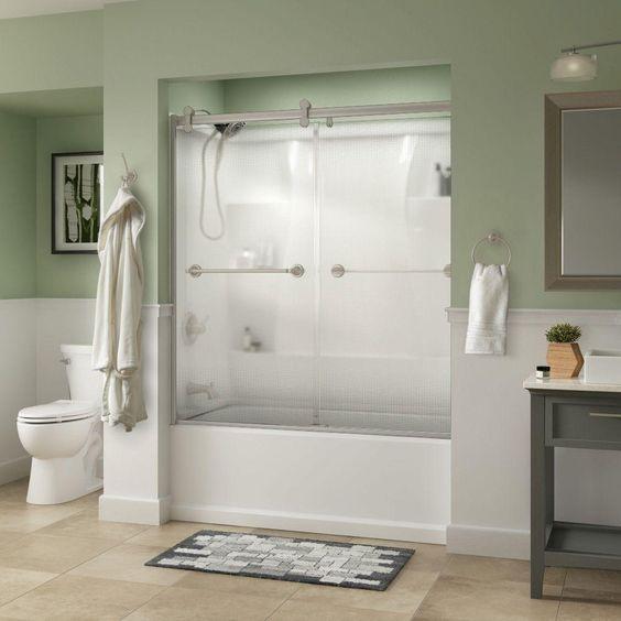 Delta Silverton 60 in. x 58-3/4 in. Semi-Frameless Contemporary Sliding Bathtub Door in