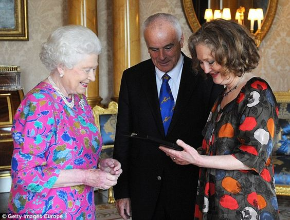 Her Majesty presents The Queen's Medal For Music to Dame Emma Kirkby on June 2, 2011, watched by the Queen's then Master of Music Sir Peter Maxwell Davies: