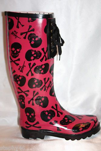 BETSEY JOHNSON Pink Skull and Crossbones Lace Up Rain Boots ...