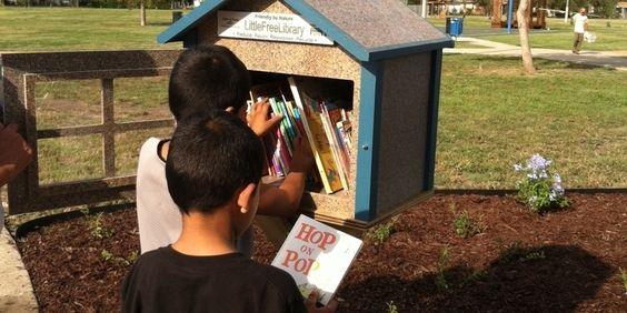 Little Free Library in Golden Park, San Antonio, Texas.