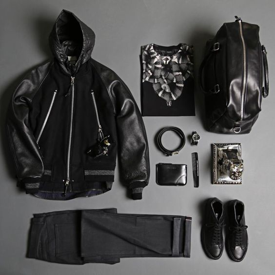 End Clothing - A noir inspired selection for this week's #outfitgrid featuring: Monitaly MARCELO BURLON ENTERPRISE A.P.C. Nike Sandqvist Ray-Ban Neighborhood Imperial Barber Products U.S.A. Comme des Garçons - PLAY Anderson's and TSOVET.